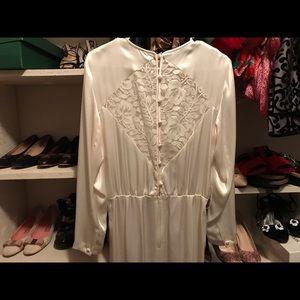 Liz Claiborne White lace satin longsleeve dress 10
